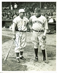 "Rare Jimmie Foxx Signed 1934 Type I 7"" x 9"" News Service Photograph w/ Babe Ruth! (PSA/DNA)"