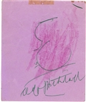 "Alfred Hitchcock Signed & Self Sketched 4"" x 4"" Album Page (JSA)"