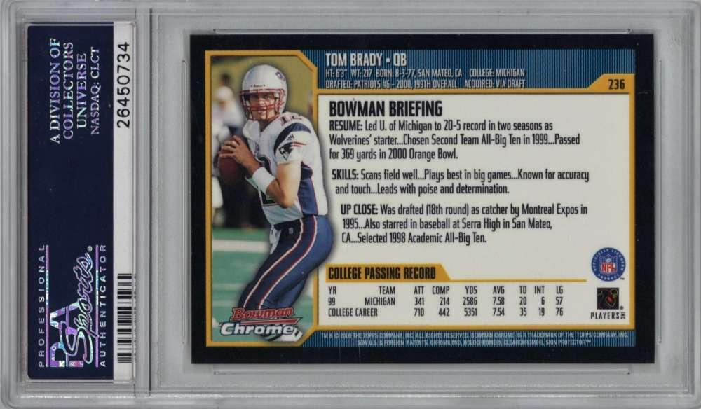Lot Detail Tom Brady 2000 Bowman Chrome 236 Rookie Card Psa Mint 9