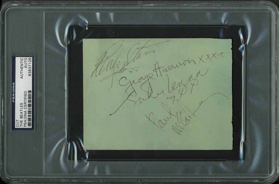 The Beatles Group Signed 4 x 5.5 Album Page w/ All Four Signatures! (PSA/DNA Encapsulated & Tracks)