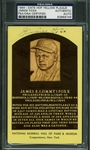 Beautiful Jimmie Foxx Signed Hall of Fame Plaque Postcard (PSA/DNA Encapsulated)