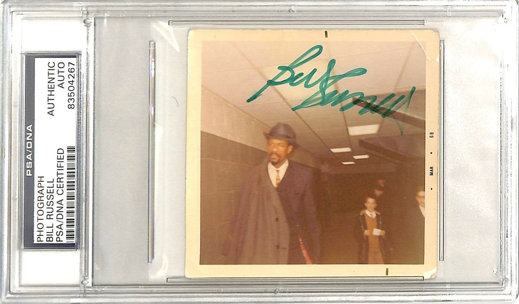 Bill Russell Signed 3.5 x 2.5 Candid Photograph (PSA/DNA Encapsulated)