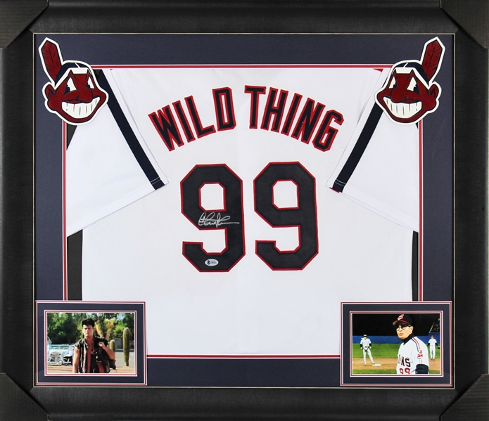 Charlie Sheen Signed Indians #99 Wild Thing Jersey in Custom Framed Display (BAS/Beckett)