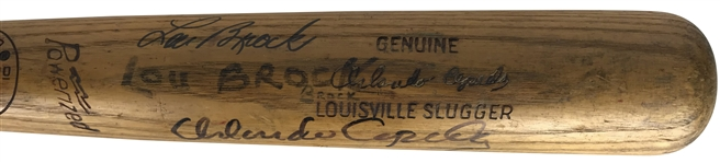 Orlando Cepeda & Lou Brock Game Used 1967 St. Louis Cardinals P89 Baseball Bat (PSA/DNA)