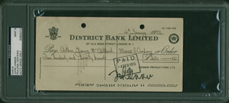 The Beatles: John Lennon Exceptional Signed Bank Check - PSA/DNA Graded MINT 9!