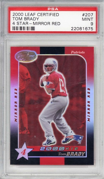 Tom Brady Rare 2000 Leaf Certified 4 Star Mirror Red Rookie Card PSA MINT 9!