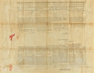 Thomas Jefferson & ULTRA-RARE Levi Lincoln Dual Signed 1801 Ships Pass Document (Beckett/BAS)