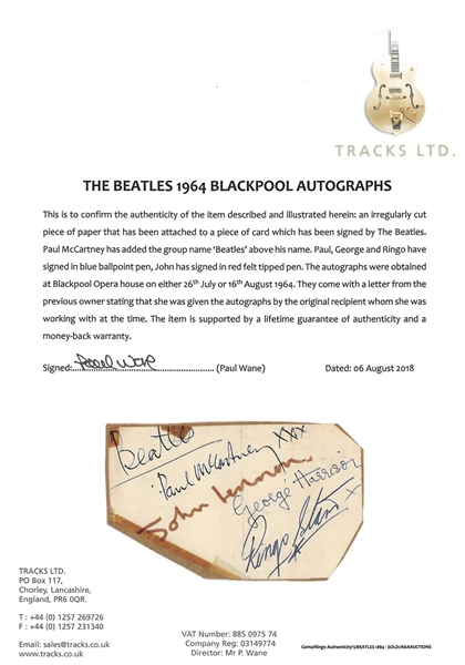 The Beatles Band Signed 3 x 5 Album Page w/ Paul McCartney, John Lennon, George Harrison & Ringo Starr (Beckett/BAS Encapsulated)