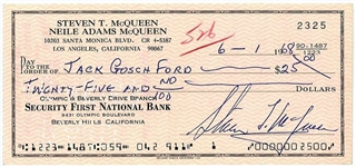 Steve McQueen ULTRA-RARE Signed 1968 Bullitt-Era Bank Check - PSA/DNA GEM MINT 10!