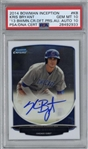 Kris Bryant Signed 2014 Bowman Chrome Inception - PSA Perfect 10-10!