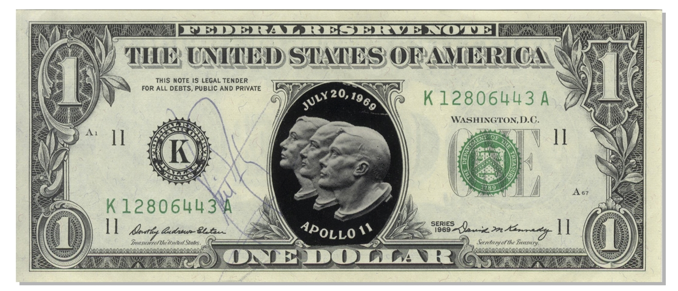 Apollo 11: Neil Armstrong Rare Signed 1969 Dollar Bill (JSA)