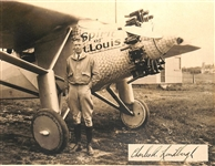 Charles Lindbergh Incredible Signed Photo w/ The Spirit of St. Louis! (BAS/Beckett)