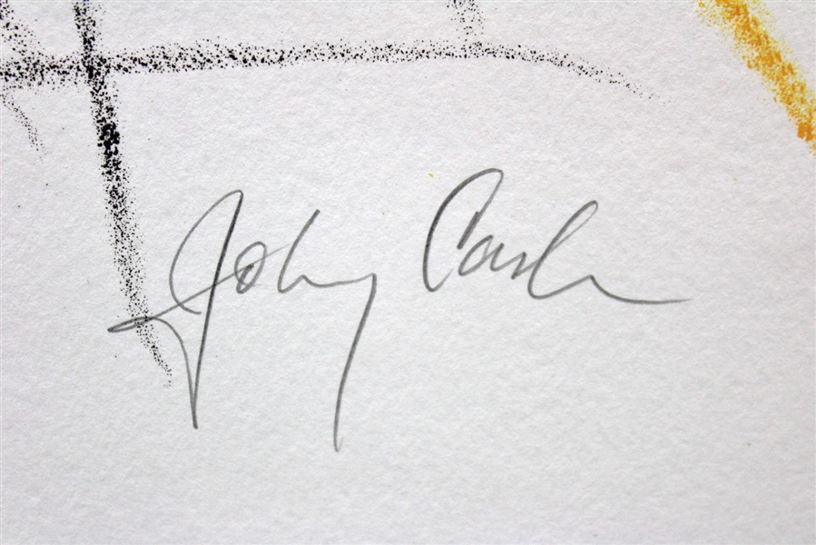 Johnny Cash Rare & Desirable Signed 30 x 40 Printer's Proof for Flight Artwork (PSA/DNA)