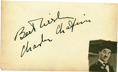 "Charlie Chaplin Near-Mint Signed 3.5"" x 5"" Album Page (Beckett/BAS Guaranteed)"