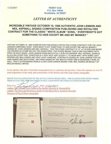 John Lennon & Neil Aspinall Historic Dual-Signed Publishing Document for Everybody's Got Something to Hide From the White Album! (BAS/Beckett)