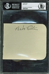 "Babe Ruth Large & Impressive Signed 4.25"" x 5.25"" Album Page (BAS/Beckett Encapsulated)"