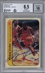 Michael Jordan Signed 1986 Fleer Sticker Rookie Card - BGS 6.5 w/ 10 Auto!