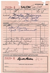 Marilyn Monroe Rare Signed Waxing Treatment Receipt, The First We Have Ever Handled! (Beckett/BAS)
