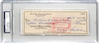 Vince Lombardi Signed 1962 Personal Bank Check to IRS (PSA/DNA Graded GEM MINT 10)