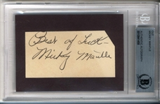 "Mickey Mantle Rookie-Era Signed 1.5"" x 3"" Album Page (Beckett/BAS Encapsulated)"