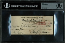Marilyn Monroe Scarce Handwritten & Signed Early Bank Check (1950)(Beckett/BAS Encapsulated)