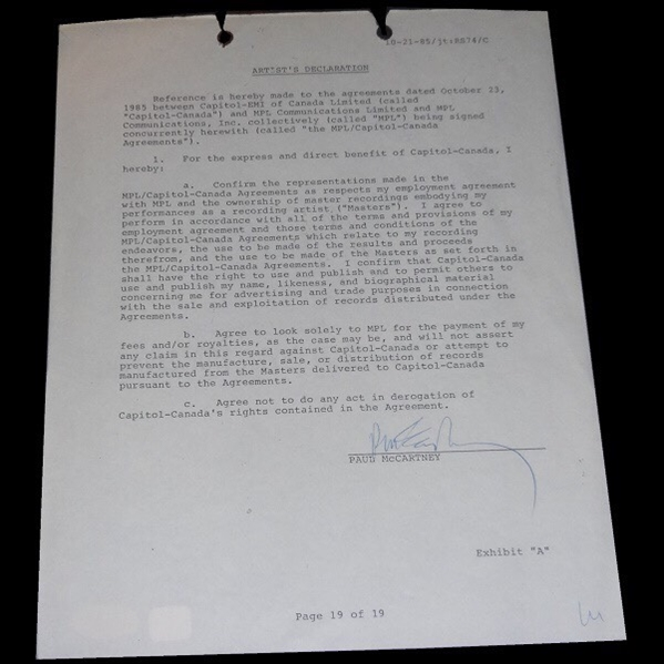 Extraordinary Paul McCartney Signed 1985 Capitol Records Contract (PSA/DNA)