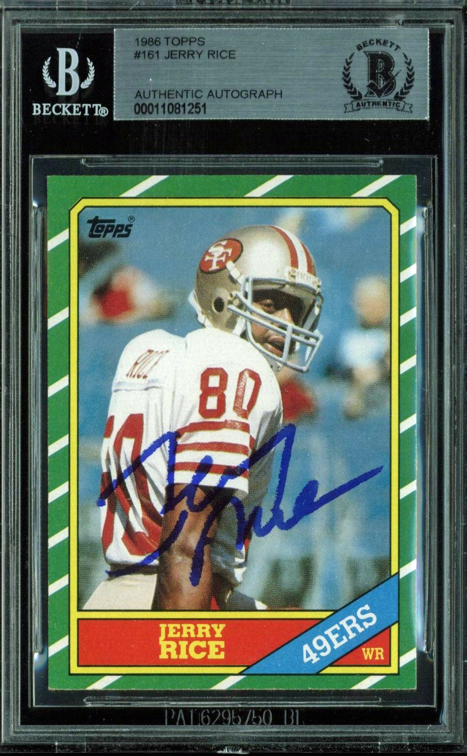Lot Detail Jerry Rice Signed 1986 Topps Rookie Card Beckettbas
