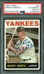 Mickey Mantle Signed 1964 Topps #50 Card - PSA/DNA Graded NM-MT+ 8