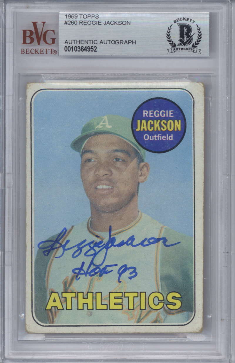 Lot Detail Reggie Jackson Signed 1969 Topps Rookie Card