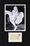 "Marilyn Monroe Signed 3.5"" x 5.5"" Postcard in Matted Display (JSA)"