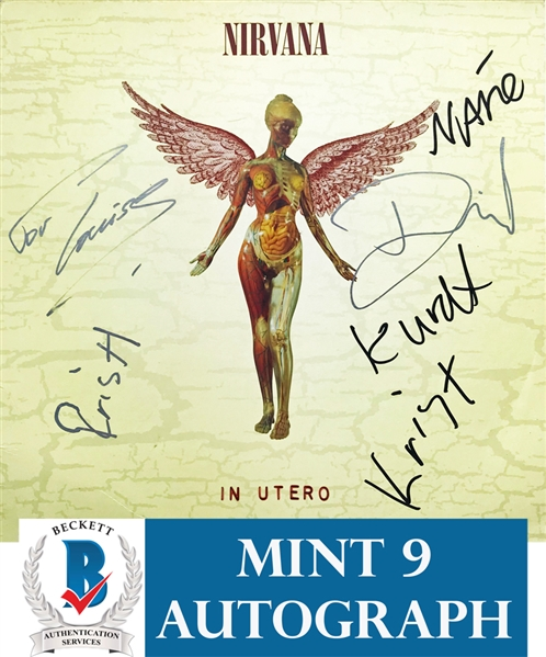 Nirvana ULTRA RARE Group Signed In Utero Record Album - Signed Weeks Before Kurt's Passing! - Beckett/BAS Graded MINT 9!