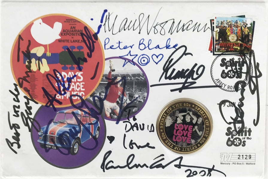 The Beatles: Exceptional Multi-Signed 4.5 x 7 First Day Cover w/ McCartney, Ringo, Martin & Others! (Beckett/BAS Guaranteed)