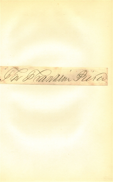 President Franklin Pierce Signed 5 x 9 Free Franked Album Page (Beckett/BAS)