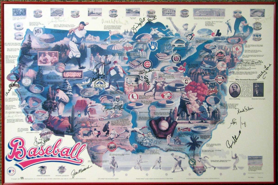 MLB Stars ULTRA-RARE Signed 24 x 36 Poster w/ Mantle, Koufax, Berra & Others! (Beckett/BAS)