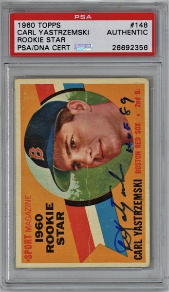 Carl Yastrzemski Signed & HOF 89 Inscribed 1960 Topps Rookie Card (PSA/DNA)