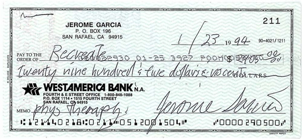 The Grateful Dead: Jerry Garcia Signed 1994 Bank Check with Rare Near-Mint Jerome Garcia Signature(Beckett/BAS)