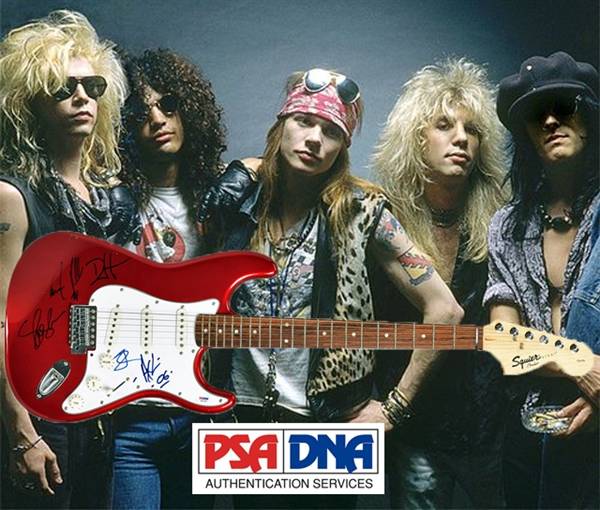 Guns N' Roses Group Signed Guitar with All Five Original Members! (PSA/DNA)
