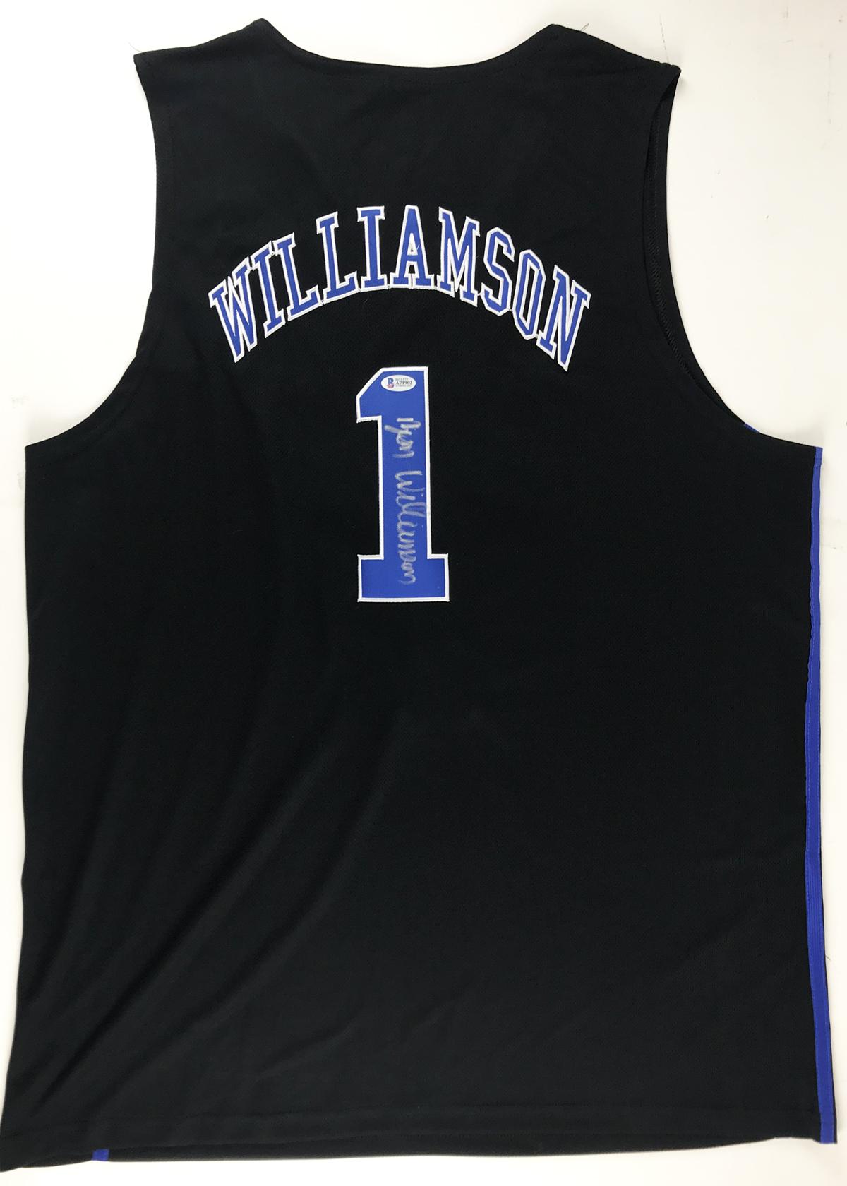 big sale ea372 fb5fa Lot Detail - Zion Williamson ULTRA RARE Signed Duke Blue ...