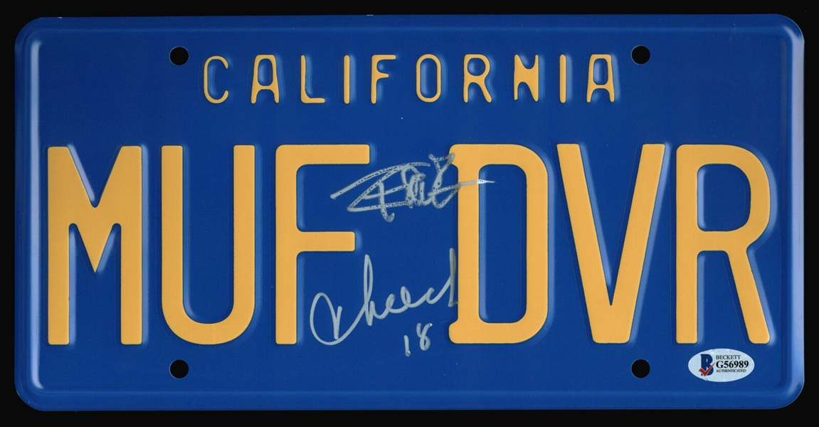 Cheech & Chong Dual Signed MUF DVR License Plate (Beckett/BAS)