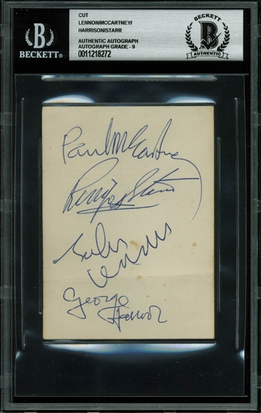The Beatles Superb Signed 3 x 4 Album Page w/ McCartney, Lennon, Harrison & Starr - Beckett/BAS Graded MINT 9!