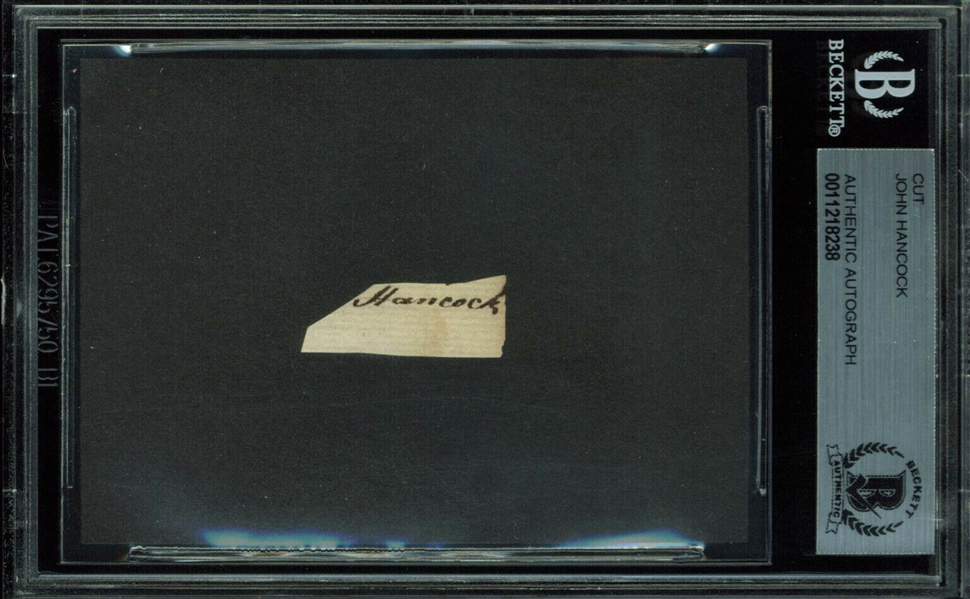 John Hancock Signed .5 x 1 Document Clipping (Beckett/BAS Encapsulated)