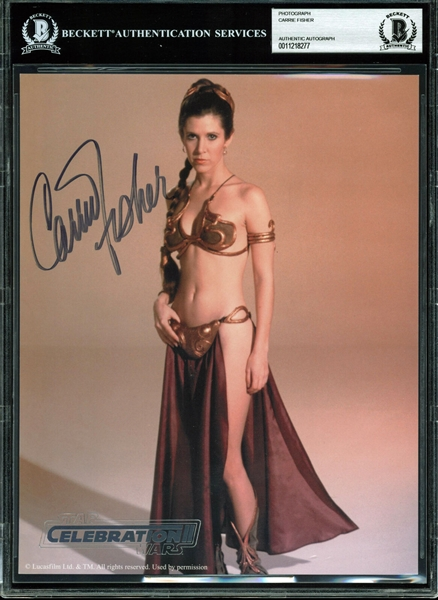 Star Wars: Carrie Fisher Near-Mint Signed 8 x 10 Slave Leia Photograph (Beckett/BAS Encapsulated)