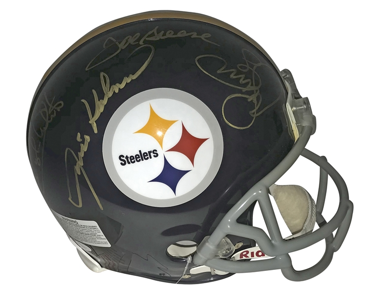 Pittsburgh Steelers The Steel Curtain Signed Pittsburgh Steelers Full Sized Pro-line Football Helmet (JSA)