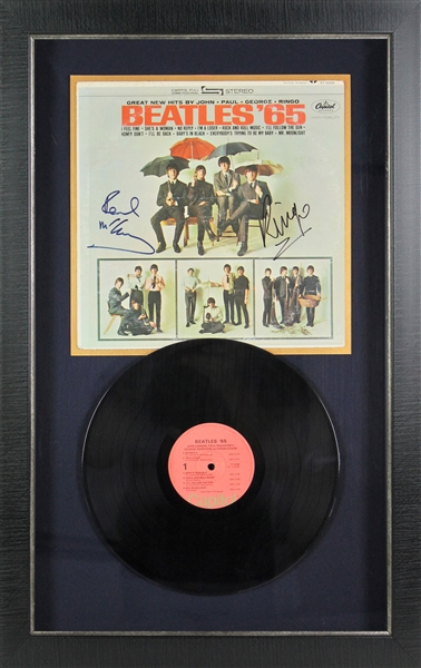 The Beatles: Paul McCartney & Ringo Starr Superb Signed Beatles '65 Record Album in Custom Display (PSA/DNA)