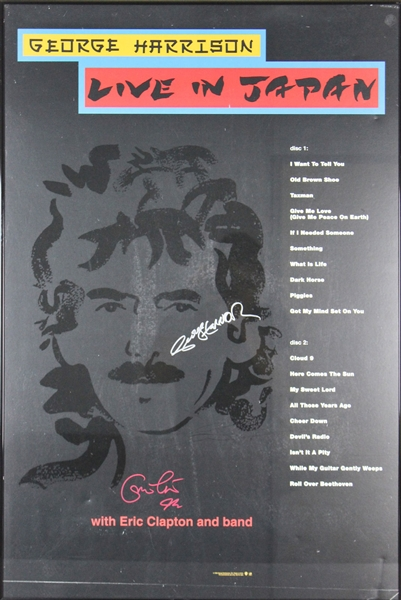 George Harrison & Eric Clapton ULTRA-RARE Dual-Signed Live in Japan Promotional Poster (JSA)
