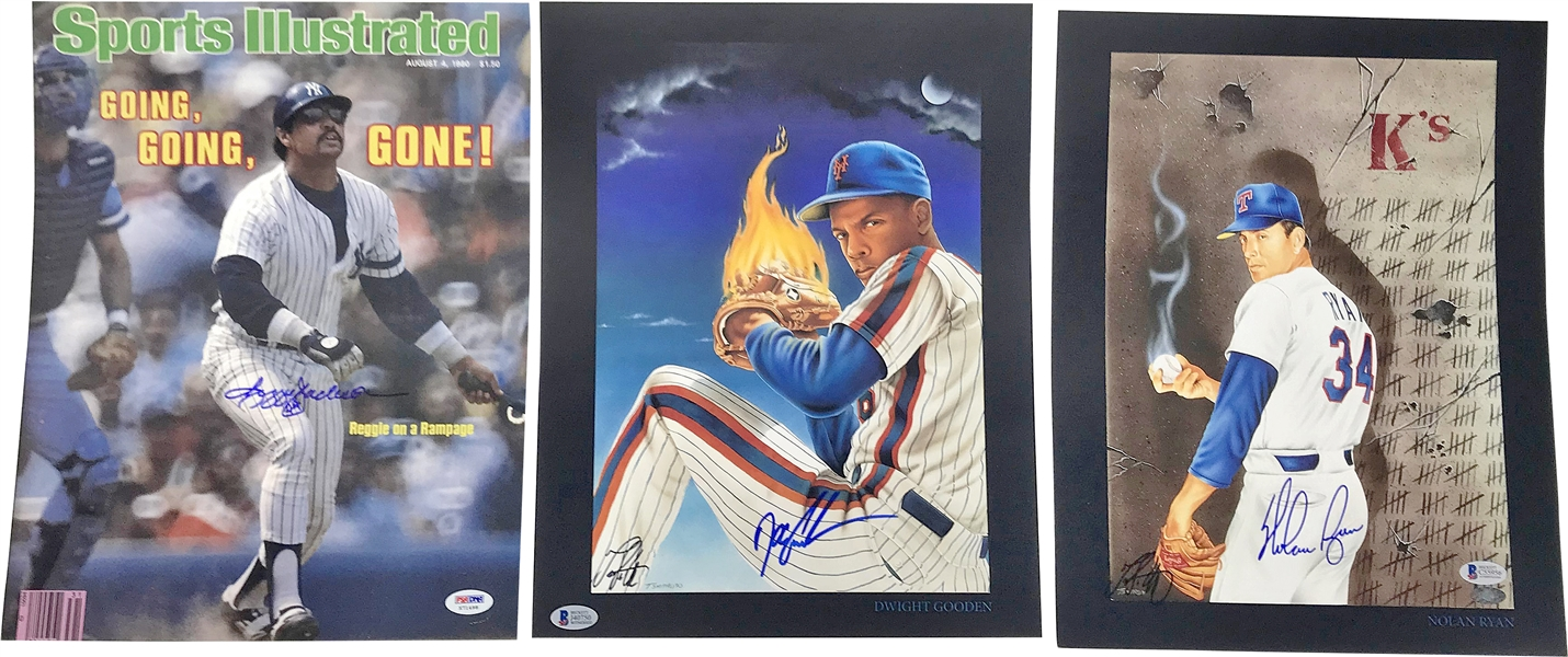 Lot of Seven (7) MLB Greats Signed 11 x 14 Images w/ Ryan, Gooden & Jackson! (Beckett/BAS)