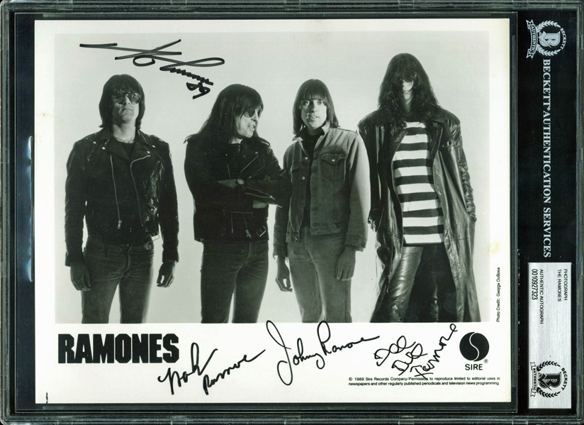 The Ramones Group Signed 8 x 10 Promotional Photo (4 Sigs)(BAS/Beckett Encapsulated)