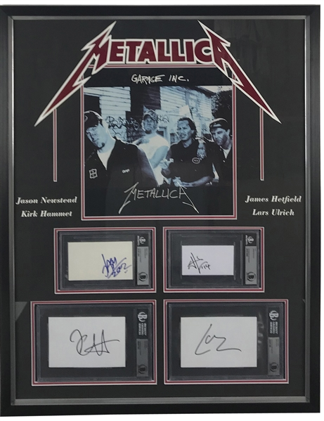 Metallica Group Signed Framed 25 x 32 Display w/ All Four Members! (Beckett/BAS)
