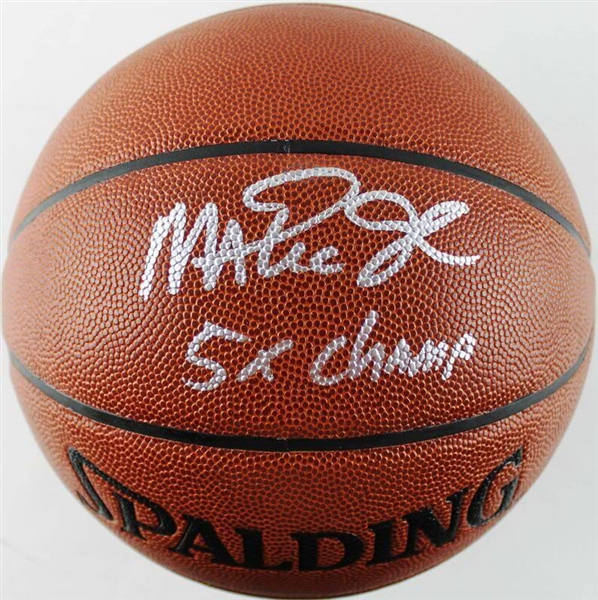 Magic Johnson Signed & Inscribed 5x Champ NBA Basketball (PSA/DNA)