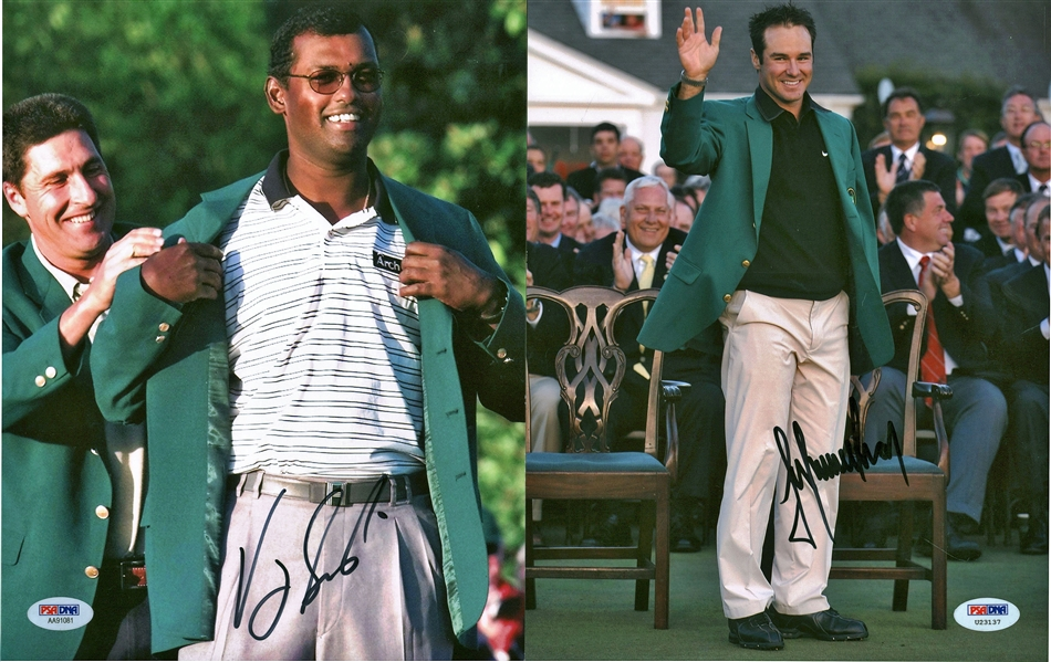 Masters Winners Lot of Eight (8) Signed 8 x 10 Photographs w/ Singh, Immelman, Watson & Others! (PSA/DNA)